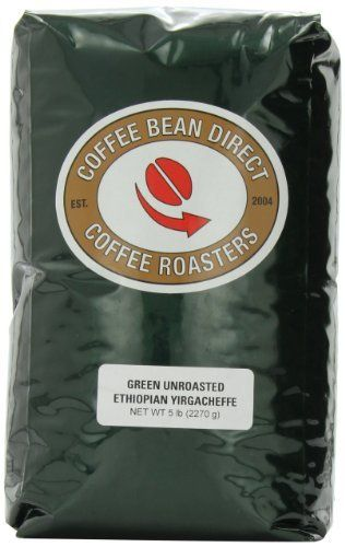 Green Unroasted Ethiopian Yirgacheffe Whole Bean Coffee 5Pound Bag by Coffee Bean Direct * Read more  at the image link.
