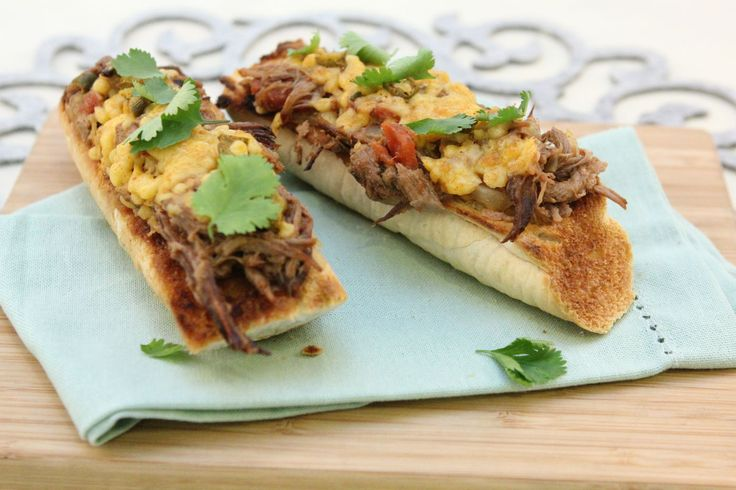 Jalapeno Cheddar and Pulled Brisket served on toasted French Loaves - Make delicious beef recipes easy, for any occasion