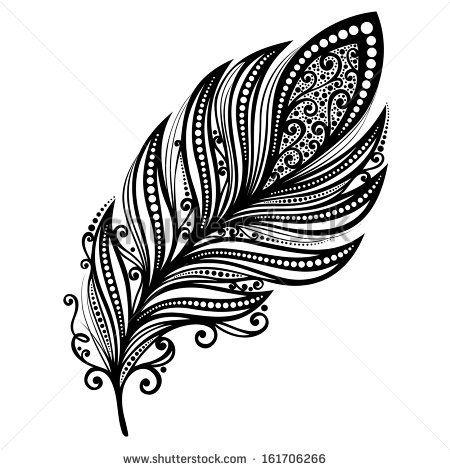 Peerless Decorative Feather (Vector), Patterned design, Tattoo by IrinaKrivoruchko, via Shutterstock