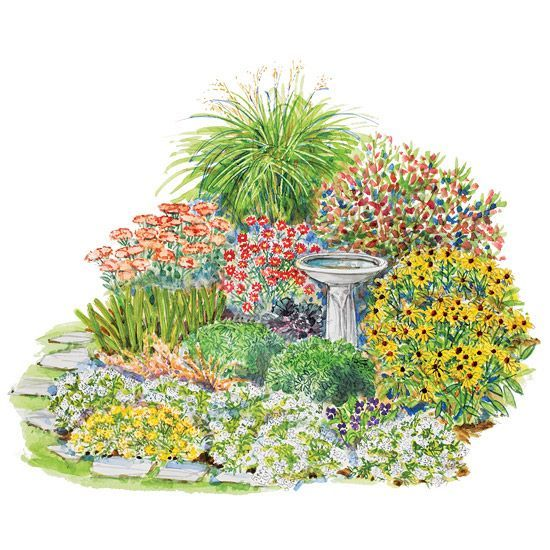 A Touch of Country This rambunctious layout features sedum, aster, black-eyed Susan, and other fall favorites that are sure to please.    Garden size: 10 by 11 feet