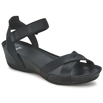 Camper has made these great sandals with a small wedge and ankle strap for summer! #shoes #sandals #wedges #black #leather #camper #rubbersole #uk