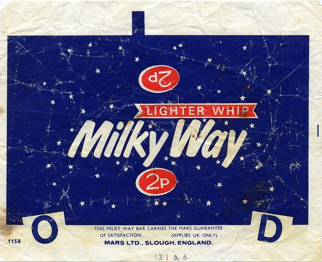 UK - Mars - Milky Way 2p candy bar wrapper - 1970's