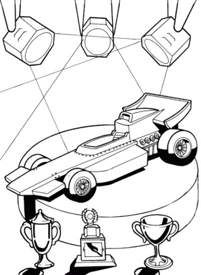 Winner Track Race Car Coloring Page