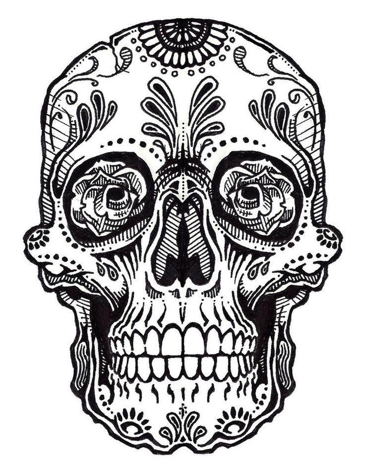 the 25+ best sugar skull drawings ideas on pinterest | easy skull ... - Simple Sugar Skull Coloring Pages