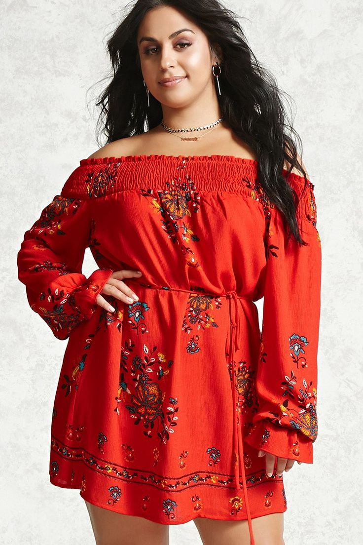 Product Name:Plus Size Belted Floral Dress, Category:CLEARANCE_ZERO, Price:24.9