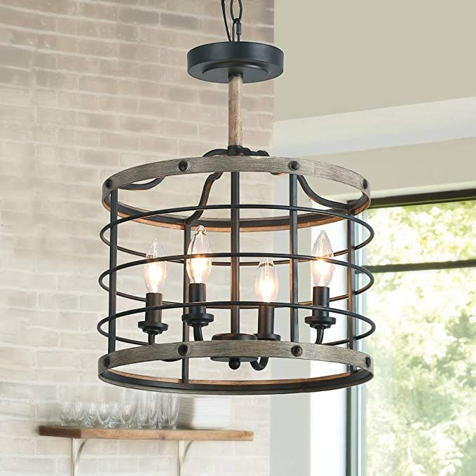 Faux-Wood Finish LOG BARN Farmhouse Chandelier 4-Light Dining Room Lighting Fixtures Hanging