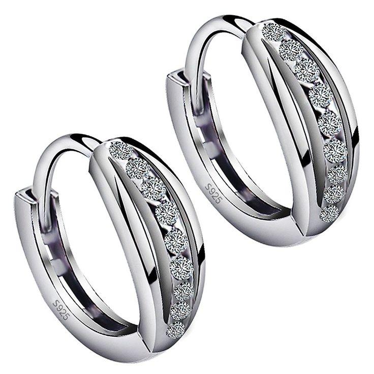 Meixao Ladies Earrings Studs Sterling Silver Cubic Zirconia Black Paint Love Heart Earring for Womens/Girl laPqz