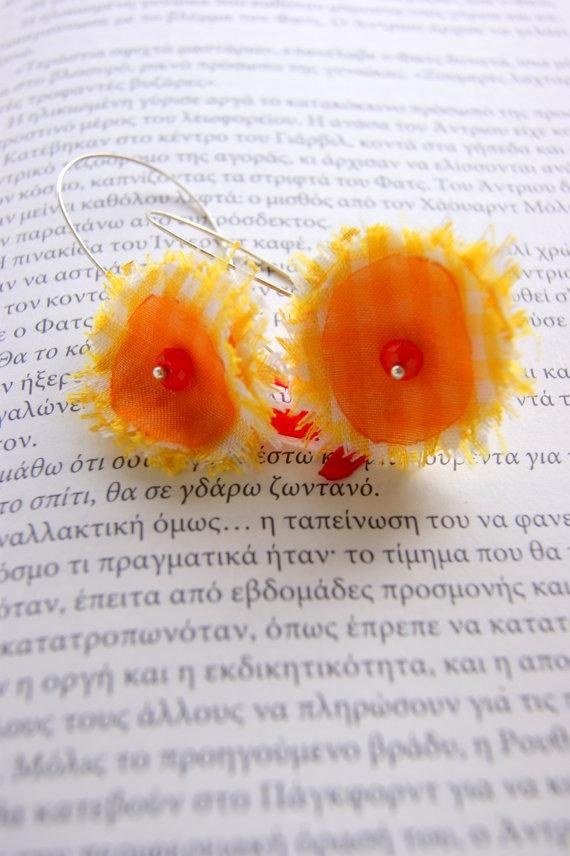 Fabric Flowers Orange Yellow organza by RenatasArt on Etsy, €14.00