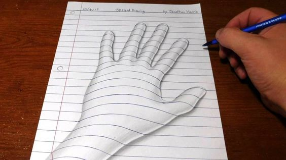 How to draw a 3D hand. Line paper trick art optical illusion drawing. This is…