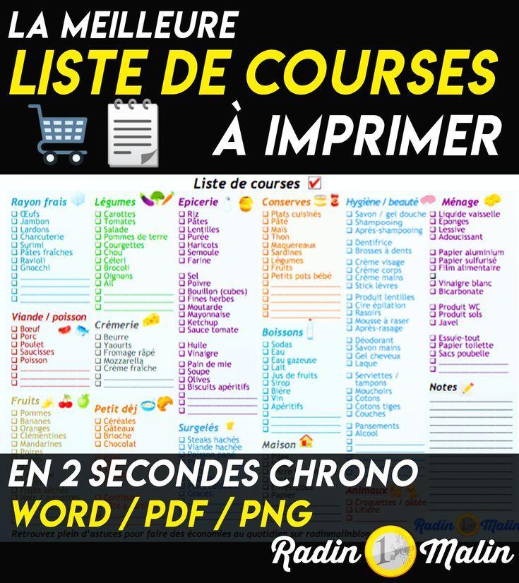 Liste De Courses Gratuite A Imprimer En 2 Secondes Chrono Radin Malin Blog En 2020 Liste De Courses Gagner De L Argent Radin Malin