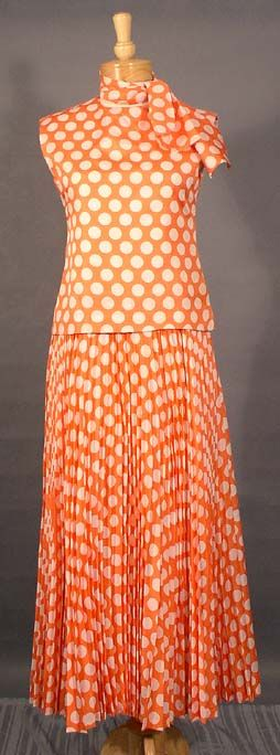 Pierre Cardin 1970s Tangerine & White Polka Dotted Evening Gown