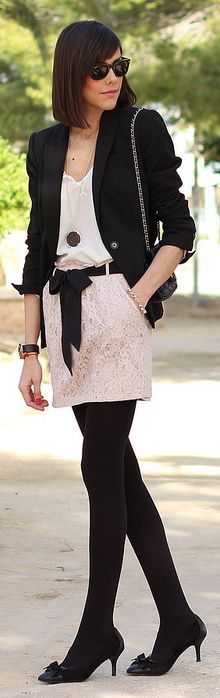 White Pale Pink Lace Skirt by Be Trench