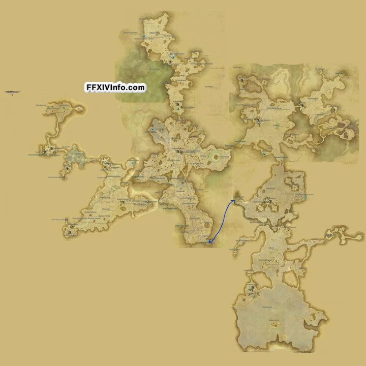 Map of Thanalan in FFXIV: A Realm Reborn