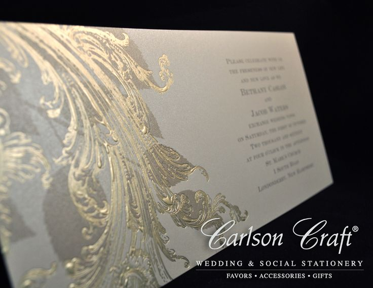 Captivating Golden Swirls From Carlson Craft   This Golden Shimmer Wedding Invitation  Has Golden Swirls Branching Off