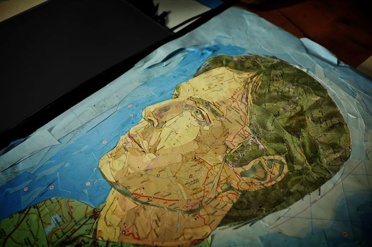 portrait made with pieces of map. no photoshop. by Piers Faccini: singer, composer, songwriter, photographer, painter...