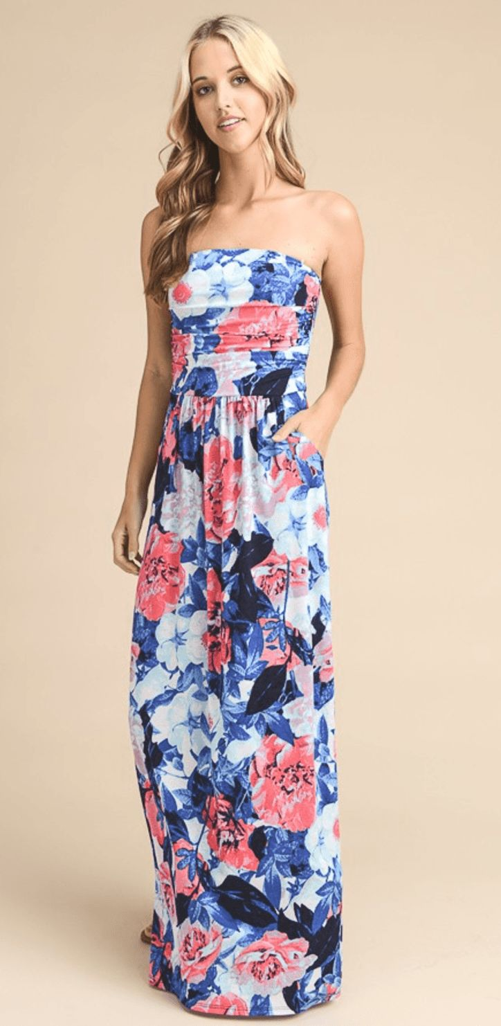 GARDEN PARTY FLORAL PRINT STRAPLESS MAXI DRESS - BLUE