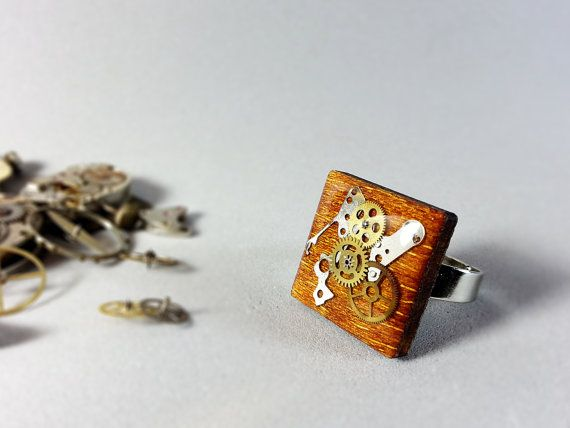 Unusual Steampunk Ring real wood ring Vintage Watch by ByEmilyRay