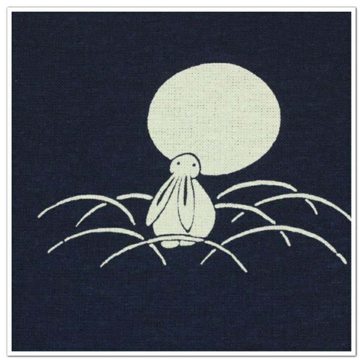3.Cotton Fabric - Rabbit in grass Moonwatching .