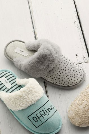 Grey Star Faux Fur Cuff Mule Slippers