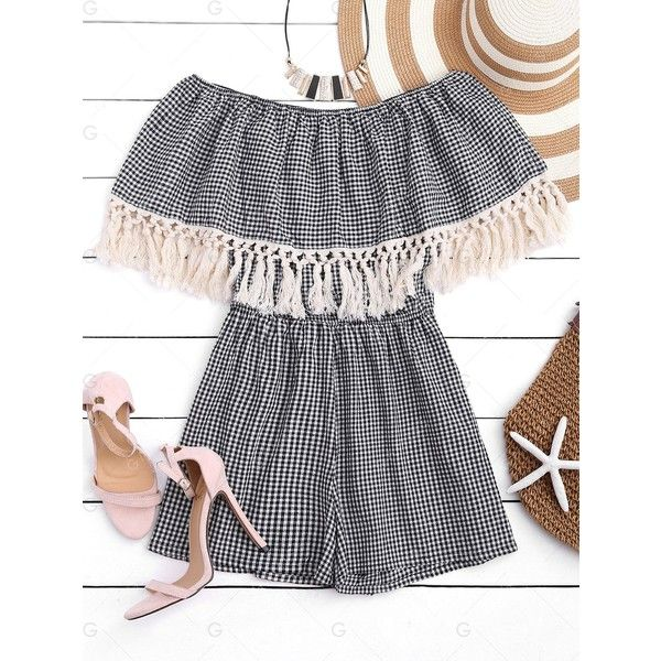 Fringed Gingham Off The Shoulder Romper ($15) ❤ liked on Polyvore featuring jumpsuits, rompers, off the shoulder romper, off shoulder romper and playsuit romper