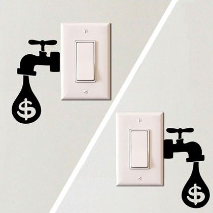 wall design sticker light switch sticker energy saving reminder water drop sticker - Wall Designs Stickers