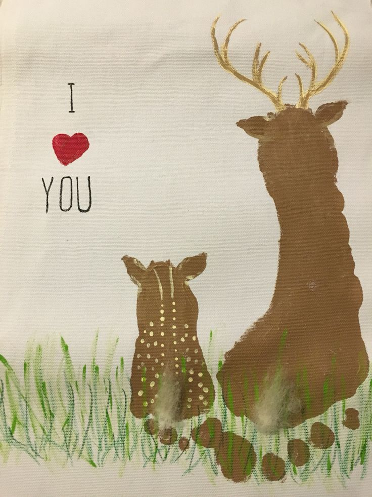 Daddy and baby deer using footprints and fingerprints