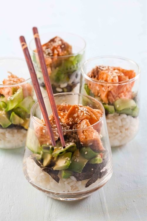 Love the presentation! would be fun for girls dinner. Sushi Trifle Salad with Salmon, Avocado and Rice or you could do chicken instead of salmon.....really old use any type of mix up in a bowl if you just have the sushi rice & nori?