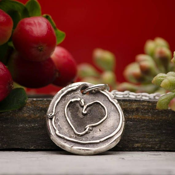 Heart Charms Round Pendant Necklace Sterling Silver Rustic