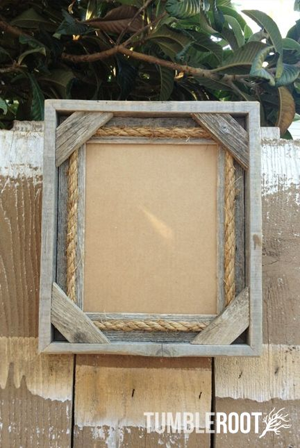 25 best wood picture frames images on pinterest picture frame reclaimed up cycled handmade rustic barnwood frame with rope detail 8x10 sciox Image collections