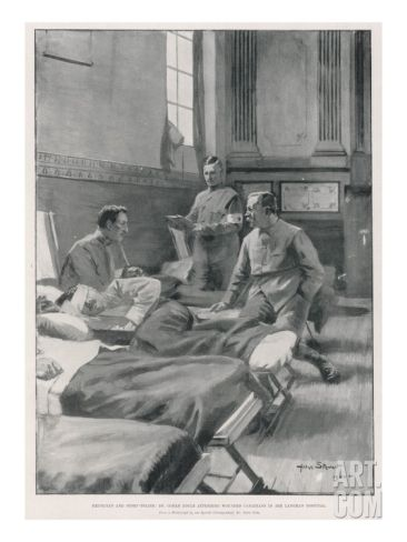 Sir Arthur Conan Doyle Dr Doyle Visiting Wounded Canadians During the Boer War, although he was not present at the Battle of Paardeberg he was in South Africa for six months during the war as a volunteer field army surgeon and I have used him as a character in my forthcoming novel of the battle.