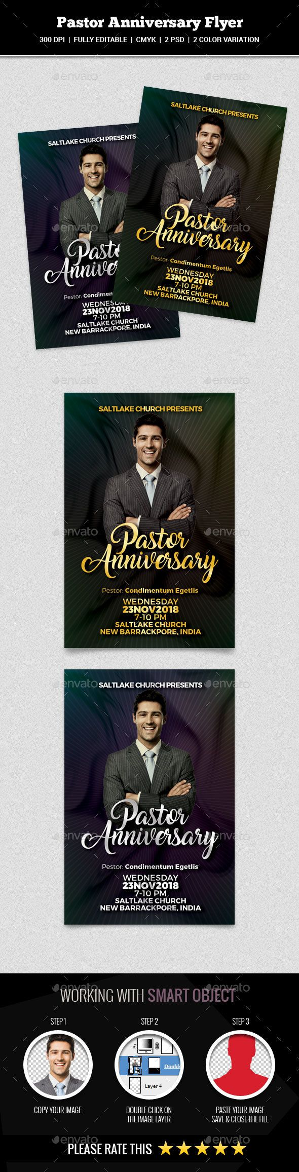 Pastor Anniversary #Flyer - Church Flyers Download here: https://graphicriver.net/item/pastor-anniversary-flyer/19537018?ref=alena994