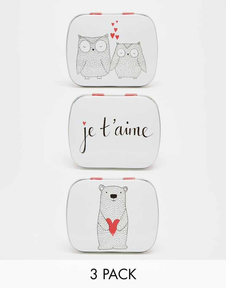 Paperchase Set of 3 Je T'aime Mini Tins
