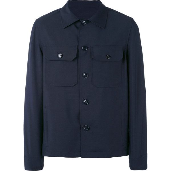 Mp Massimo Piombo military shirt jacket (1.390 BRL) ❤ liked on Polyvore featuring men's fashion, men's clothing, men's outerwear, men's jackets, blue, mens blue jacket, mens military jacket and mens military style jacket