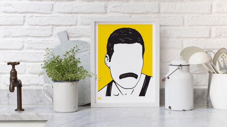 Freddie Mercury - décoratif sérigraphie par boldandnoble sur Etsy https://www.etsy.com/fr/listing/203855345/freddie-mercury-decoratif-serigraphie