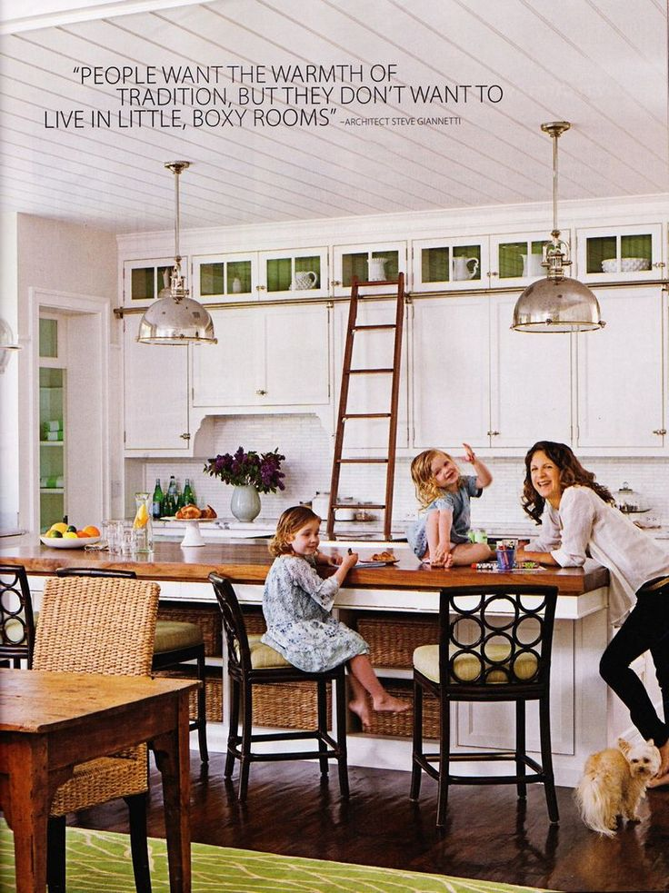 basket storage in island, high glass front cabinetsCabinets Style, Ladders Ideas, House Business, Glass Cabinets, Loop Chairs, Coastal Living, Galley Kitchens, Elkins Loop, White Kitchens