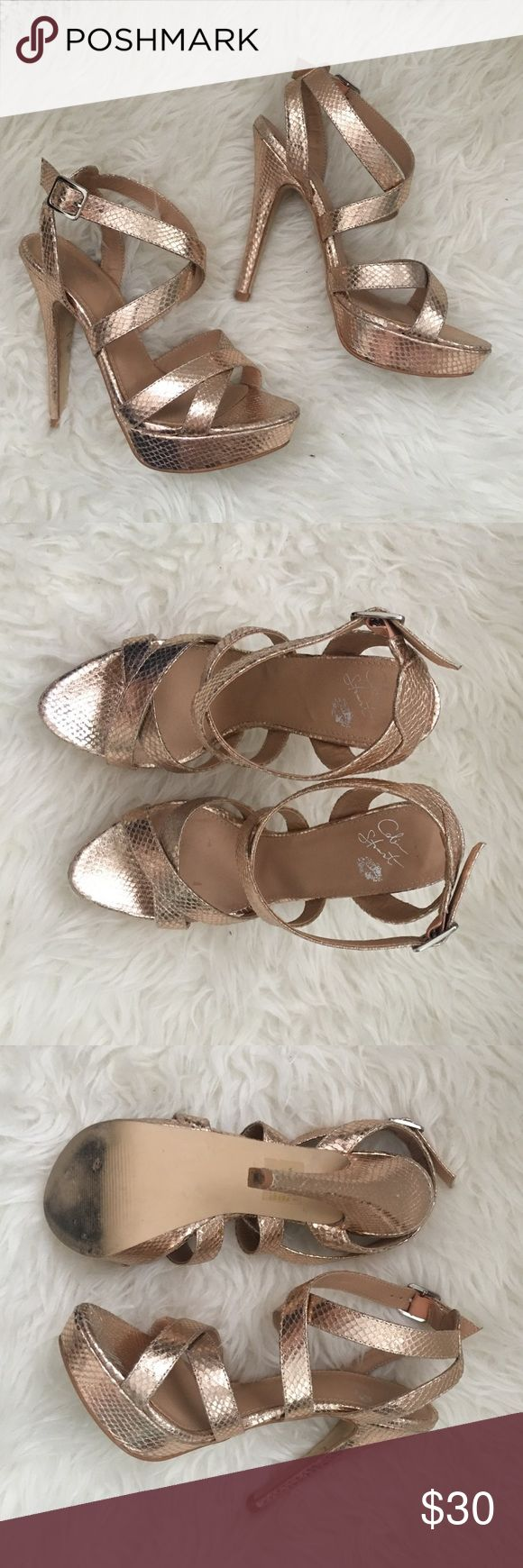Colin Stuart copper snake skin sandals Excellent condition!! Beautiful strappy sandals from Colin Stuart Colin Stuart Shoes Heels