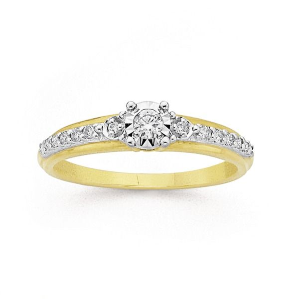 9ct Gold Diamond Trilogy Ring with Shoulder Stones