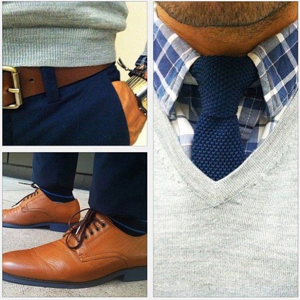 Brown shoes are always one of my favorites. They're classy but make a statement. They go great with pretty much anything and here we have a nice light sweater over a shirt and tie. On the bottom half you have darker pants with a classy belt that goes well with the shoes. A nice look that differs from the typical black shoes and is still stunning.