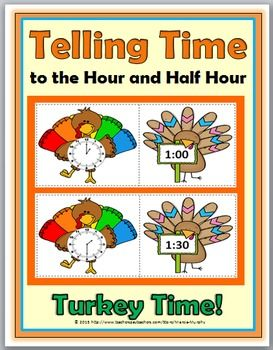 Telling Time to the Hour and Half Hour Matching Activity - Turkey Theme - Color and B+W)