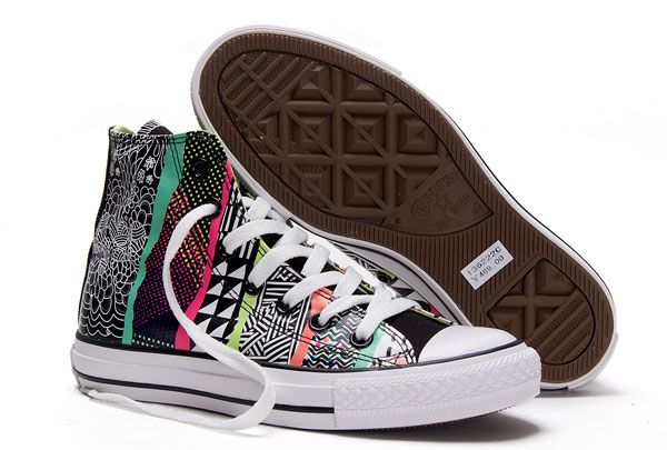 2015 Converse Chuck Taylor All Star motivi géométrique Imprimer Multicolore Haute Tops Toile Sneakers converse con borchie nuove converse, Scarpe Converse Italia