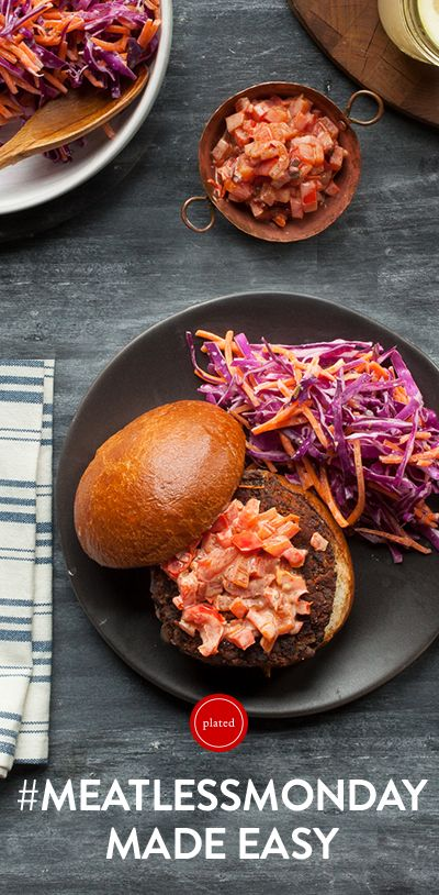 Discover new recipes each week, like these Black Bean Burgers with Lime Cabbage Slaw, and get all of the fresh ingredients delivered to your door. Plus, we're offering our Pinterest followers a special offer: get 4 FREE plates with your first box. Offer expires April 1, 2015.