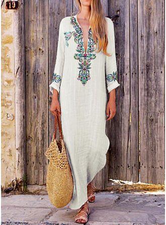 3dfc57bb49 Maxi V-neck Cotton Linen Long Sleeves Print Shift Dress Dresses, #240426  veryvoga