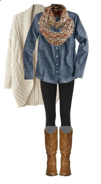 sweater scarf chambray leggings boots