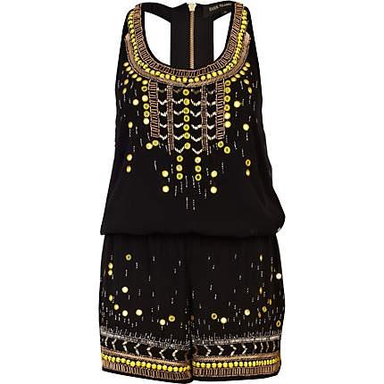 Black embellished racer back smart playsuit - playsuits - playsuits / jumpsuits - women £60