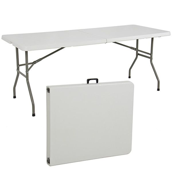 Best Choice Products 6ft Indoor Outdoor Portable Folding Plastic Dining Table W Handle Lock Walmart Com Outdoor Folding Table Folding Table Camping Table