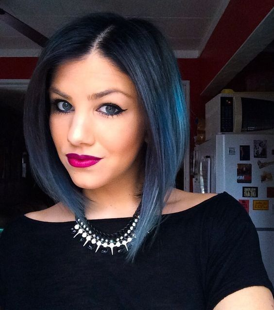 Straight Long Bob Haircut for Women and Girls -Pravana blue - blue hair - colored ombre