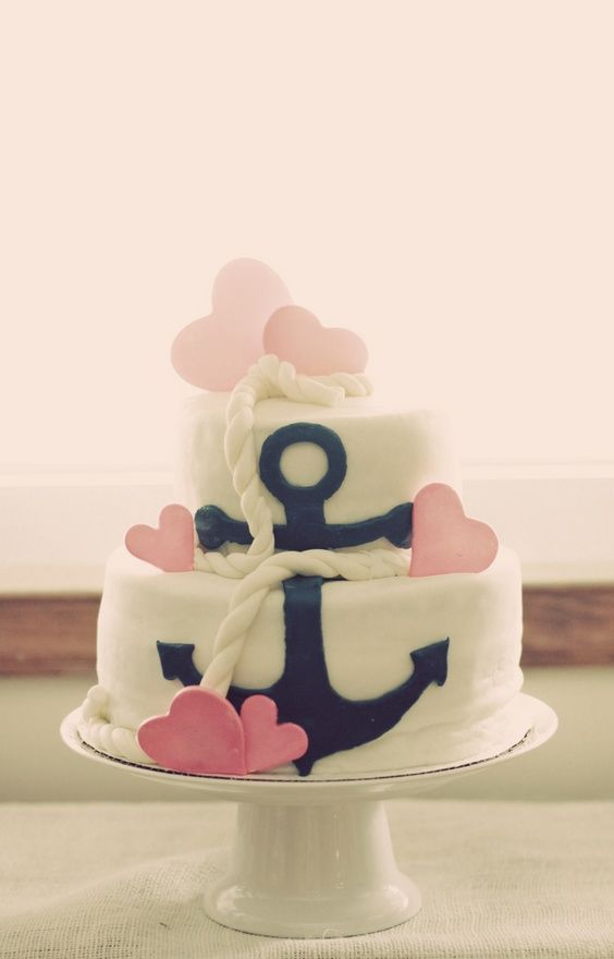A wonderful cake! Love the anchor and rope.: Anchors, Sweet, Shower Cake, Anchor Cakes, Nautical Theme, Wedding Cake, Party Ideas, Baby Shower, Birthday Cakes