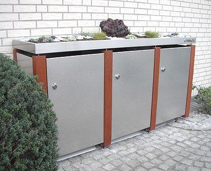 Mülltonnenbox Edelstahl Holz