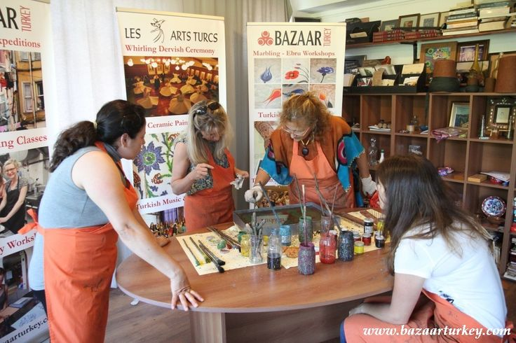 Marbling Ebru Workshops on Paper in Sultanahmet - Istanbul with our guests from Usa - July 2016
