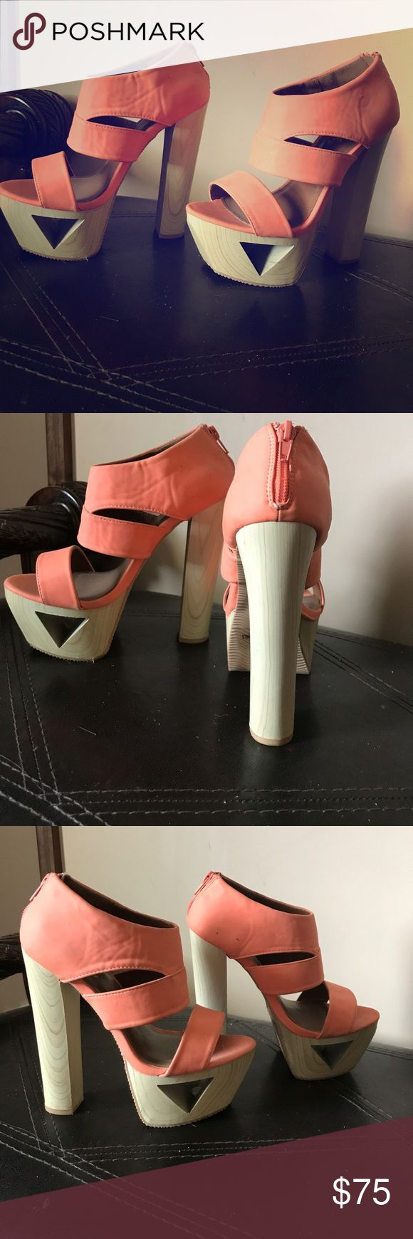 Sexy platforms high Coral wooden clog heels sz 5.5 Size 5.5 super sexy really comfortable worn them a few time clog look coral color Shoes Heels